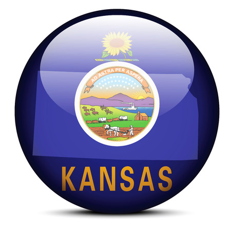 Vector Image - Map on flag button of USA Kansas State