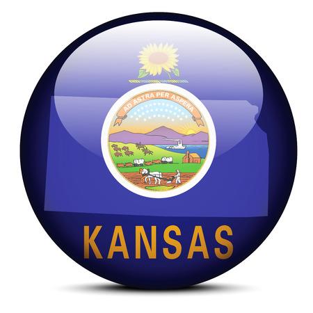 Vector Image - Map on flag button of USA Kansas State