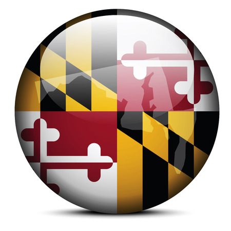 land mark: Vector Image - Map on flag button of USA Maryland State Illustration