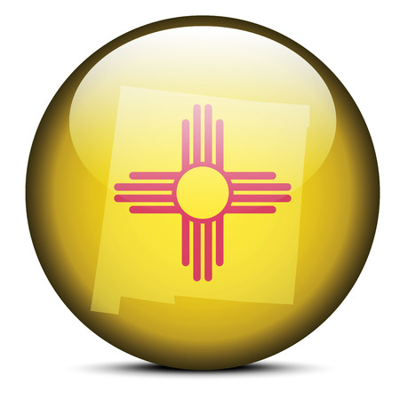 new mexico: Vector Image - Map on flag button of USA New mexico State