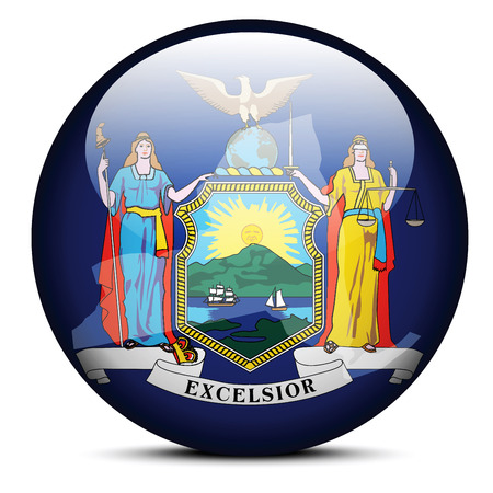 new york state: Vector Image - Map on flag button of USA New York State