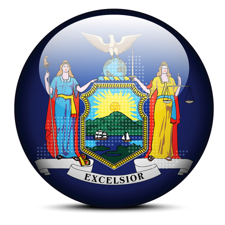 new york state: Vector Image - Map with Dot Pattern on flag button of USA New York State