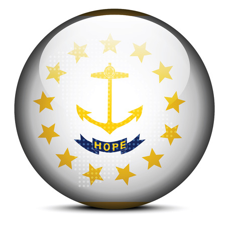Vector Image - Map with Dot Pattern on flag button of USA Rhode Island State Vector