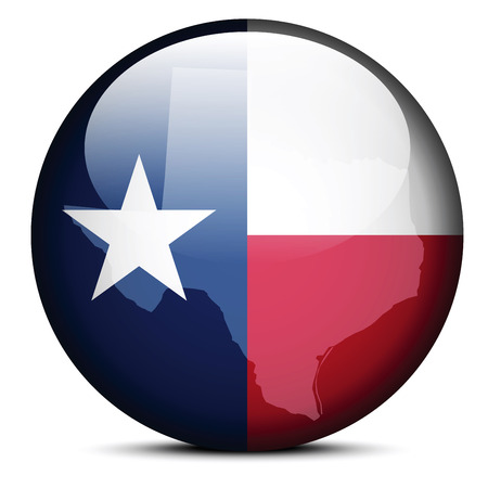 texas state: Vector Image - Map on flag button of USA Texas State