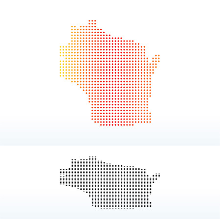 wisconsin state: Vector Image - Map of USA Wisconsin State with Dot Pattern