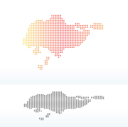 Vector Image - Map of Republic of Singapore with Dot Pattern Ilustração