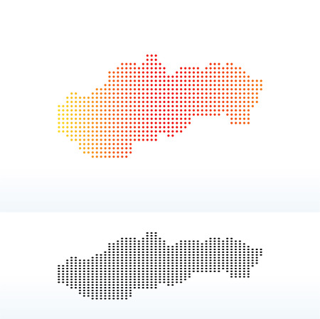 slovakian: Vector Image - Map of Slovak Republic with Dot Pattern