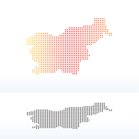 land mark: Vector Image - Map of Republic of Slovenia with Dot Pattern