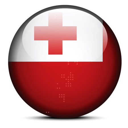 tonga: Vector Image -  Map with Dot Pattern on flag button of Kingdom of Tonga