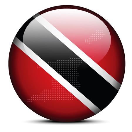 Vector Image -  Map with Dot Pattern on flag button of Republic of Trinidad and Tobago Vector