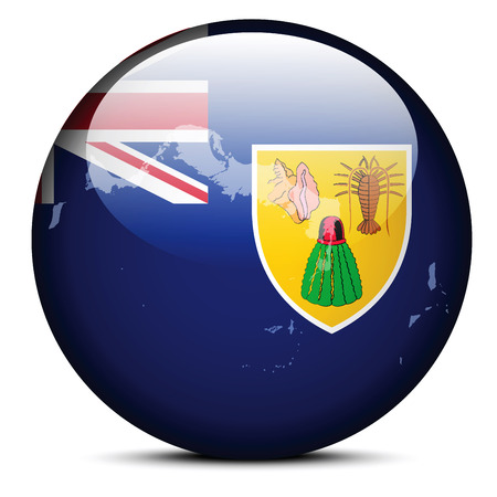 overseas: Vector Image -  Map on flag button of Turks and Caicos Islands, British Overseas Territory Illustration