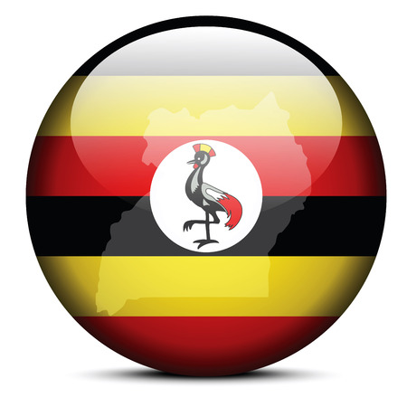 kampala: Vector Image -  Map on flag button of Republic of Uganda