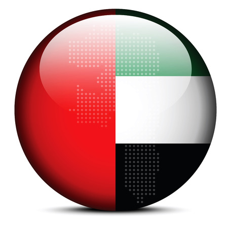 united arab emirate: Vector Image -  Map with Dot Pattern on flag button of United Arab Emirates, Fujairah Emirate