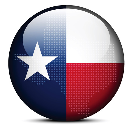 texas state: Vector Image - Map with Dot Pattern on flag button of USA Texas State