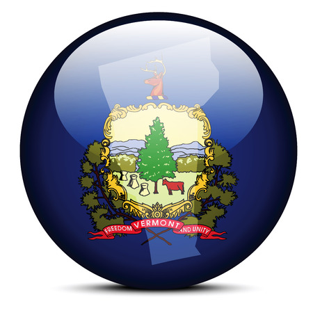 Vector Image - Map on flag button of USA Vermont State