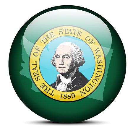 washington state: Vector Image - Map on flag button of USA Washington State