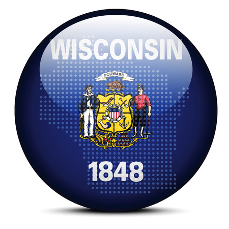 wisconsin state: Vector Image - Map with Dot Pattern on flag button of USA Wisconsin State