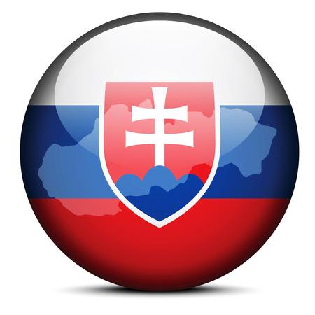 slovak: Vector Image - Map on flag button of Slovak Republic Illustration