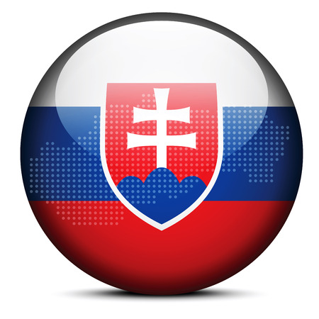 slovakian: Vector Image - Map with Dot Pattern on flag button of Slovak Republic