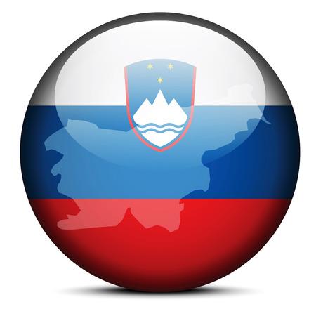 Imagen vectorial - Mapa de botón de bandera de la República de Eslovenia Foto de archivo - 37701624