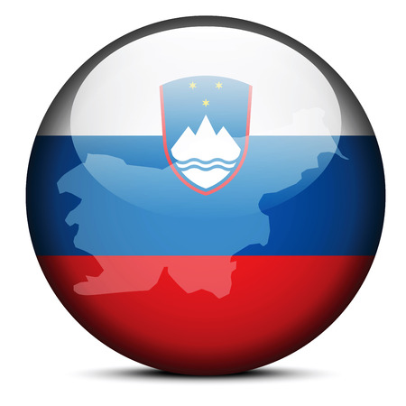 slovenia: Vector Image - Map on flag button of Republic of Slovenia