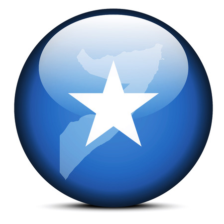 somalis: Vector Image - Map on flag button of Somali Republic