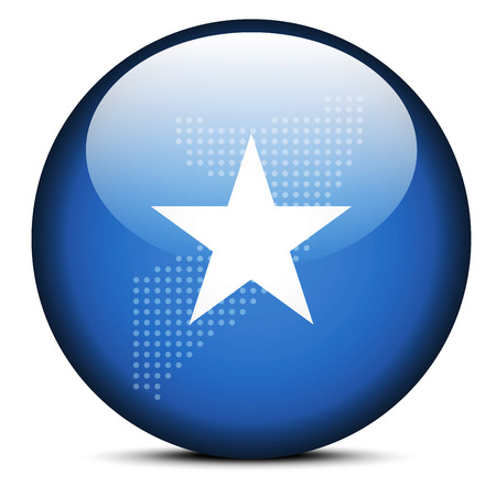 somalian flag: Vector Image -  Map with Dot Pattern on flag button of Somali Republic