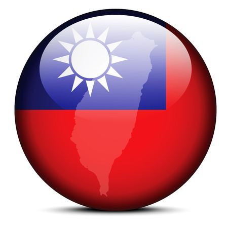 Vector Image -  Map on flag button of Republic of China Illustration