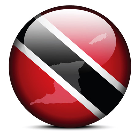 Vector Image -  Map on flag button of Republic of Trinidad and Tobago Vector