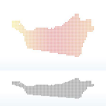 Vector Image -  Map of United Arab Emirates, Abu Dhabi Emirate with Dot Pattern