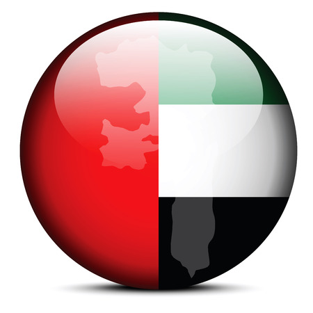 united arab emirate: Vector Image -  Map on flag button of United Arab Emirates, Fujairah Emirate