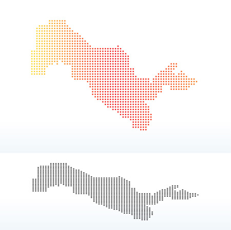 locate: Vector Image -  Map of Republic of Uzbekistan with Dot Pattern