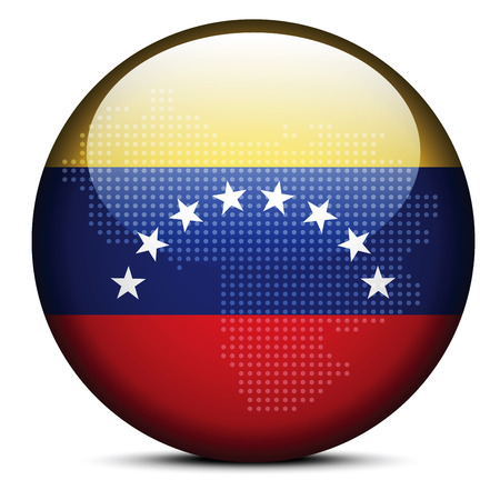 venezuelan flag: Vector Image -  Map with Dot Pattern on flag button of Bolivarian Republic of Venezuela