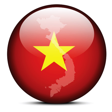 socialist: Vector Image -  Map with Dot Pattern on flag button of Socialist Republic of Vietnam