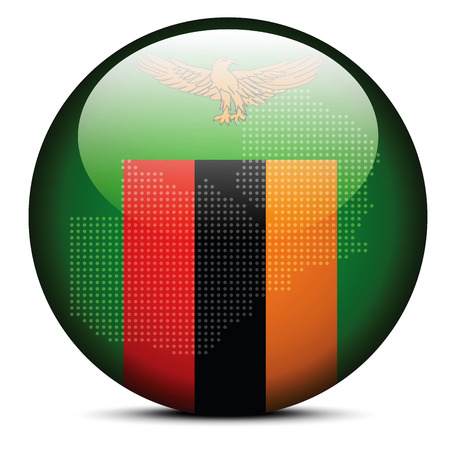 zambian: Vector Image -  Map with Dot Pattern on flag button of Republic of Zambia Illustration