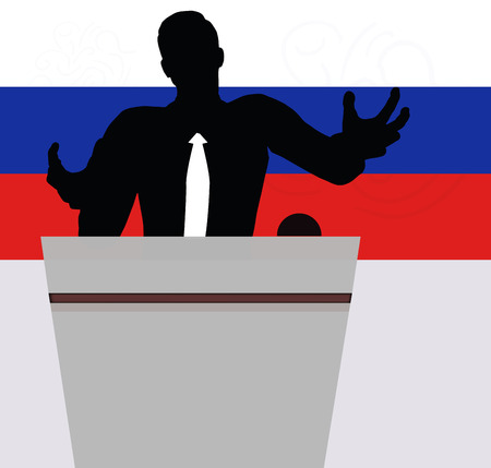 outstretched: A businessman, politician etc. is standing at a podium with a microphone giving a lecture with outstretched hands. Horizontal shot.