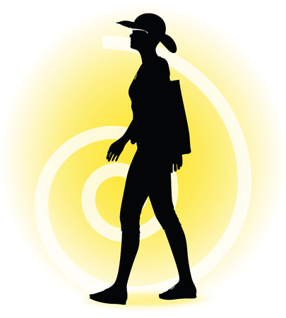 woman standing back: Vector Image -  Tourist woman silhouette with handbag and sunglasses