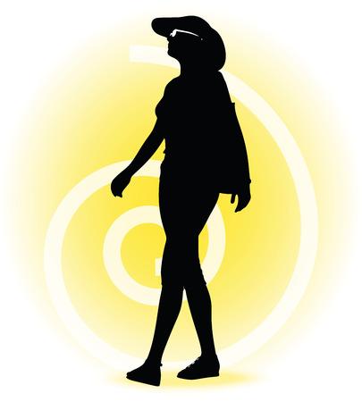 spot lit: Vector Image -  Tourist woman silhouette with handbag and sunglasses
