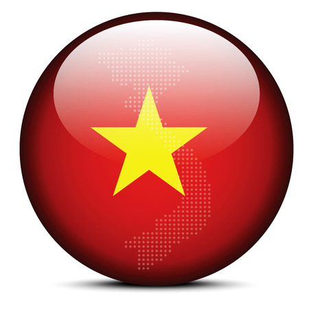 socialist: Vector Image -  Map on flag button of Socialist Republic of Vietnam