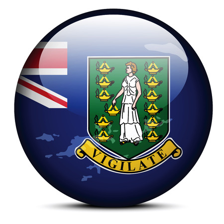 Vector Image -  Map on flag button of British Virgin Islands Vector