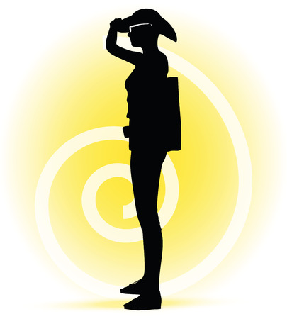 looking ahead: Vector Image -  Tourist  woman silhouette with handbag and sunglasses