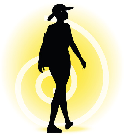 spot lit: Vector Image -  Tourist woman silhouette with handbag and sunglasses