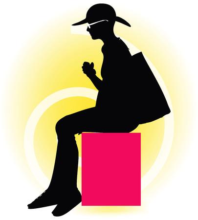 modish: Vector Image -  Tourist woman silhouette with handbag and sunglasses