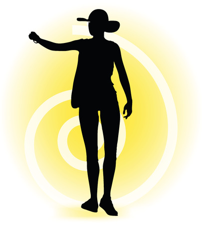Vector Image - Tourist woman silhouette with handbag and sunglasses