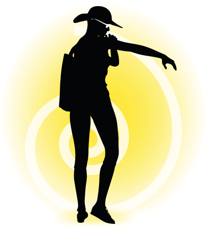 oiling: Vector Image -  Tourist woman silhouette with handbag and sunglasses