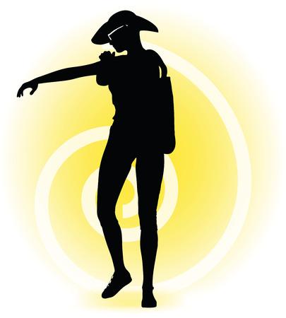 sun lotion: Imagen vectorial - silueta Mujer tur�stica con el bolso y las gafas de sol