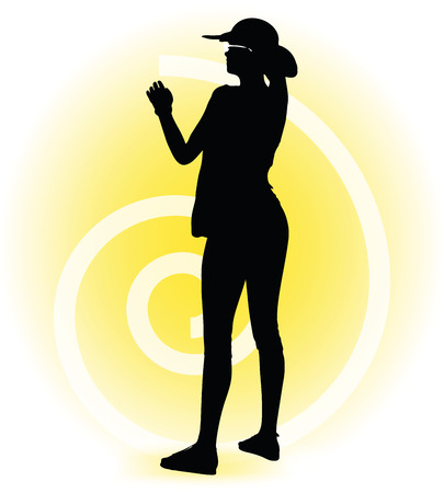tourist spot: Vector Image -  Tourist woman silhouette with handbag and sunglasses