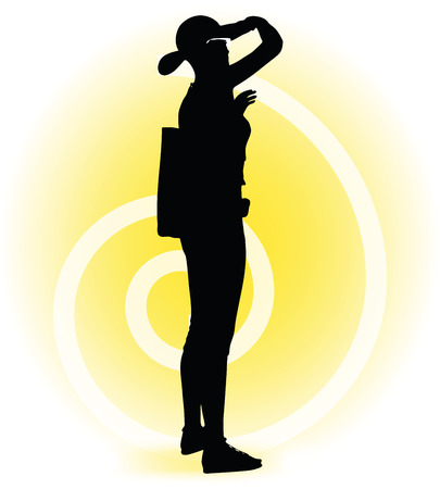 overlooking: Vector Image -  Tourist woman silhouette with handbag and sunglasses