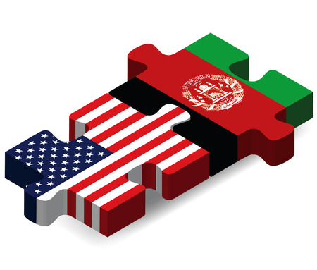 3d flag: Vector Image - USA and Afghanistan Flags in puzzle  isolated on white background Illustration