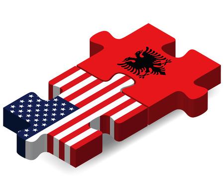 albanie: Etats-Unis et l'Albanie Drapeaux dans le puzzle isol� sur fond blanc Illustration